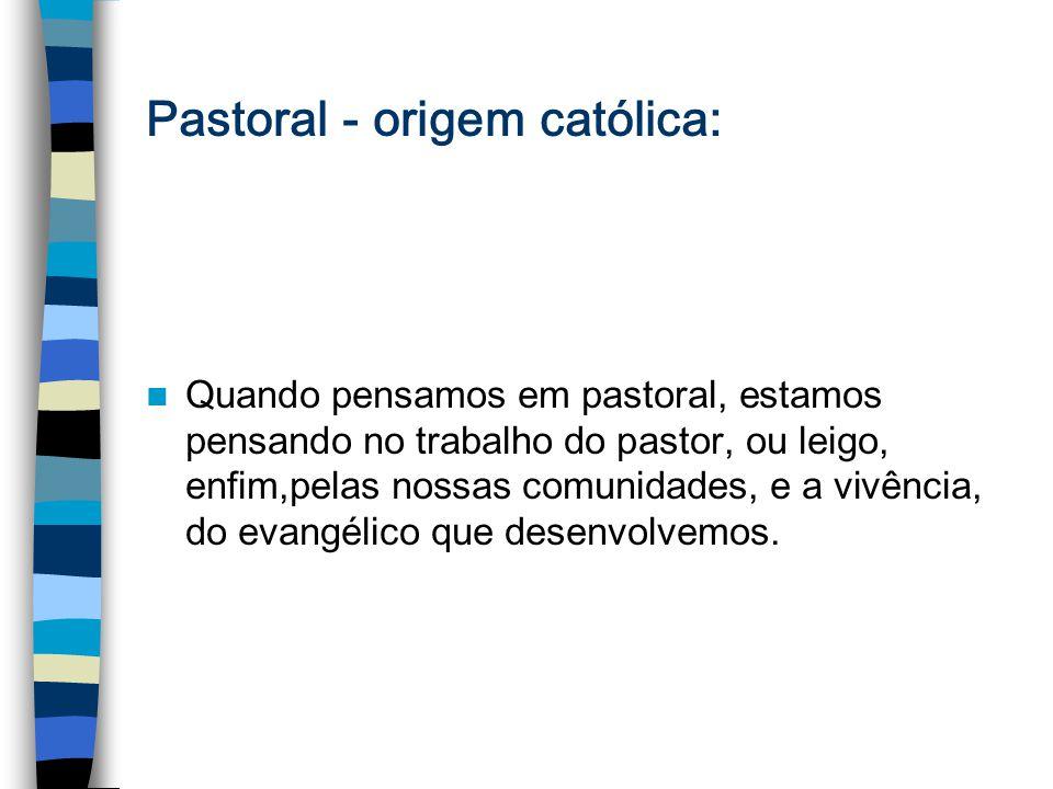 Pastoral - origem católica: Quando pensamos em pastoral, estamos pensando no trabalho do pastor, ou leigo, enfim,pelas nossas comunidades, e a vivênci
