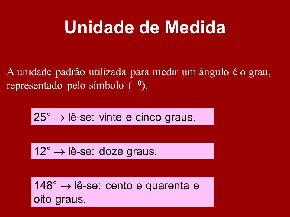 Unidade de Medida A unidade padrão utilizada para medir um ângulo é o grau, representado pelo símbolo ( 0 ). 25° lê-se: vinte e cinco graus. 12° lê-se