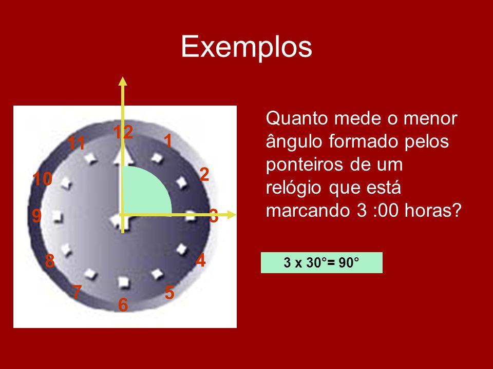 Exemplos 12 1 2 3 4 5 6 7 8 9 10 11 Quanto mede o menor ângulo formado pelos ponteiros de um relógio que está marcando 3 :00 horas? 3 x 30°= 90°