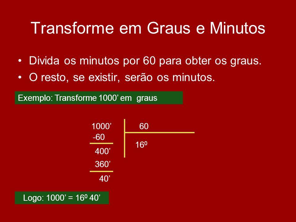 Transforme em Graus e Minutos Divida os minutos por 60 para obter os graus. O resto, se existir, serão os minutos. 100060 16 0 -60 400 Logo: 1000 = 16