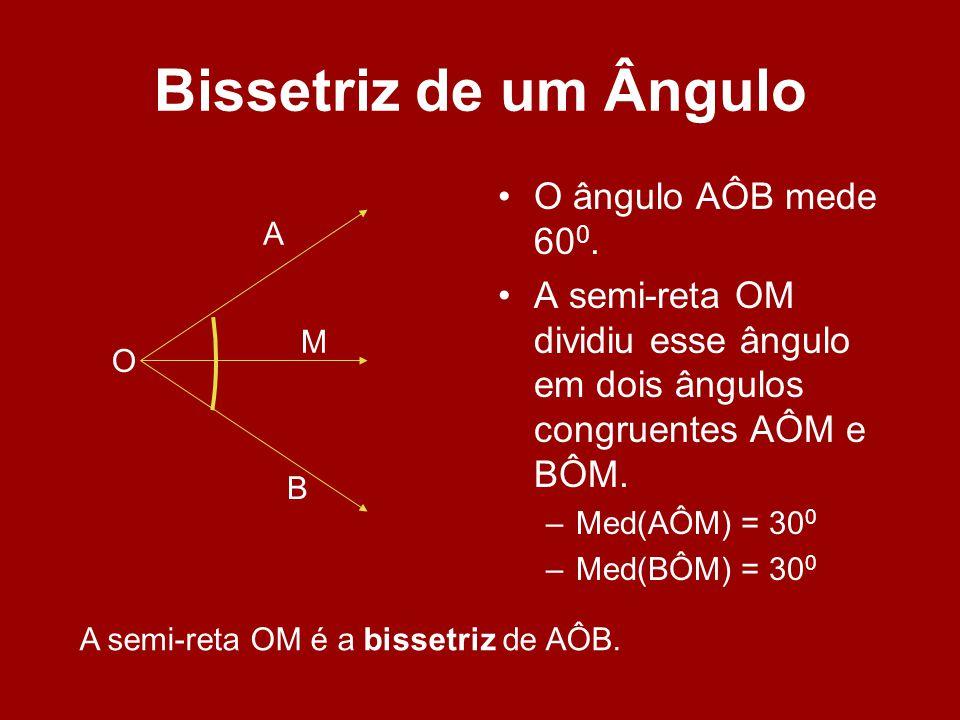 Bissetriz de um Ângulo O ângulo AÔB mede 60 0. A semi-reta OM dividiu esse ângulo em dois ângulos congruentes AÔM e BÔM. –Med(AÔM) = 30 0 –Med(BÔM) =