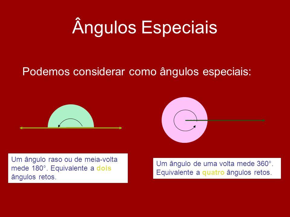 Ângulos Especiais Podemos considerar como ângulos especiais: Um ângulo raso ou de meia-volta mede 180°. Equivalente a dois ângulos retos. Um ângulo de