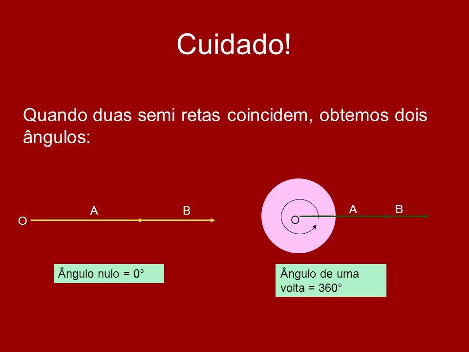 Cuidado! Quando duas semi retas coincidem, obtemos dois ângulos: O AB Ângulo nulo = 0°Ângulo de uma volta = 360° O AB