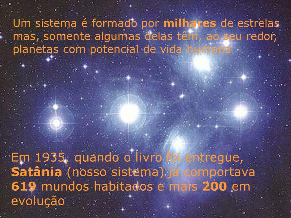 Um sistema é formado por milhares de estrelas mas, somente algumas delas têm, ao seu redor, planetas com potencial de vida humana Em 1935, quando o livro foi entregue, Satânia (nosso sistema) já comportava 619 mundos habitados e mais 200 em evolução