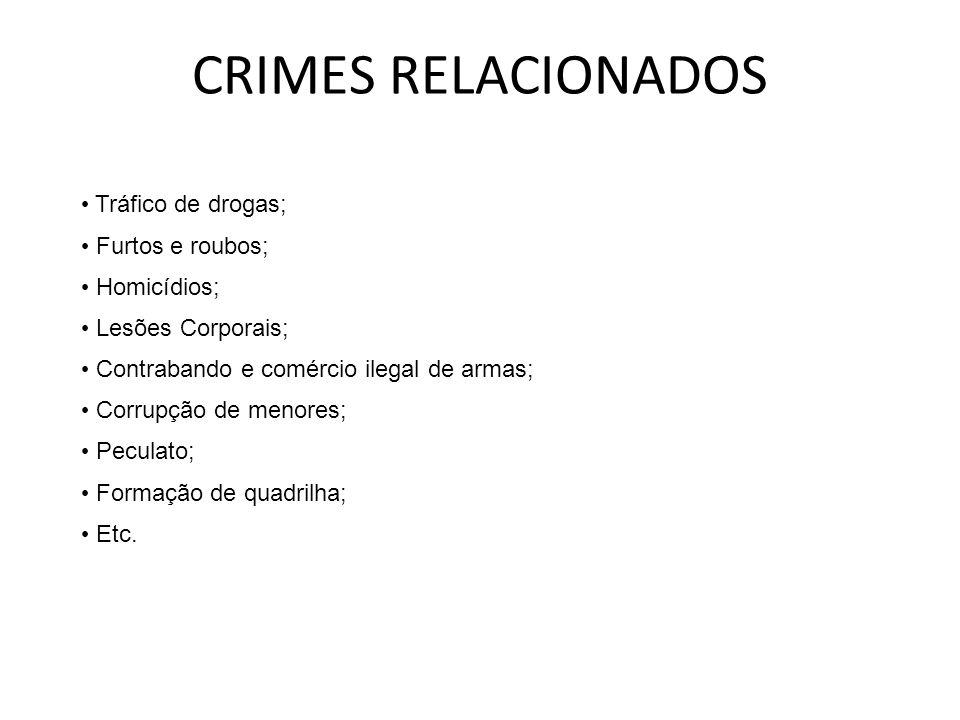 CRIMES RELACIONADOS Tráfico de drogas; Furtos e roubos; Homicídios; Lesões Corporais; Contrabando e comércio ilegal de armas; Corrupção de menores; Pe