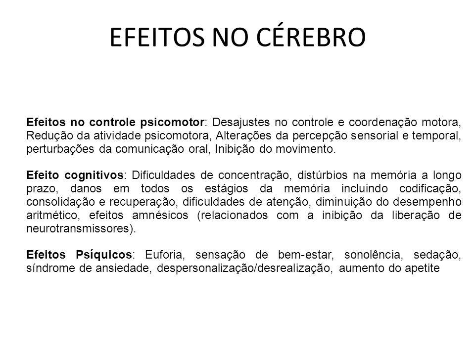 EFEITOS NO CÉREBRO Efeitos no controle psicomotor: Desajustes no controle e coordenação motora, Redução da atividade psicomotora, Alterações da percep