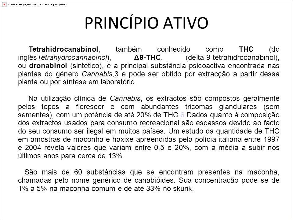 PRINCÍPIO ATIVO Tetrahidrocanabinol, também conhecido como THC (do inglêsTetrahydrocannabinol), Δ9-THC, (delta-9-tetrahidrocanabinol), ou dronabinol (
