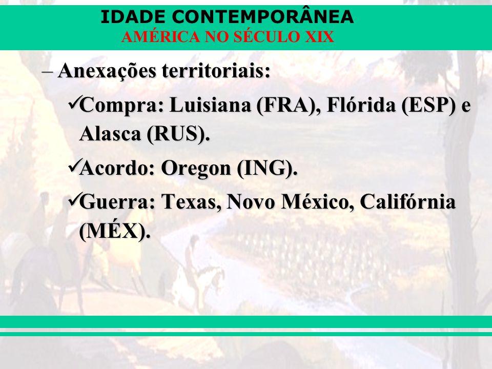 IDADE CONTEMPORÂNEA AMÉRICA NO SÉCULO XIX –Anexações territoriais: Compra: Luisiana (FRA), Flórida (ESP) e Alasca (RUS). Compra: Luisiana (FRA), Flóri