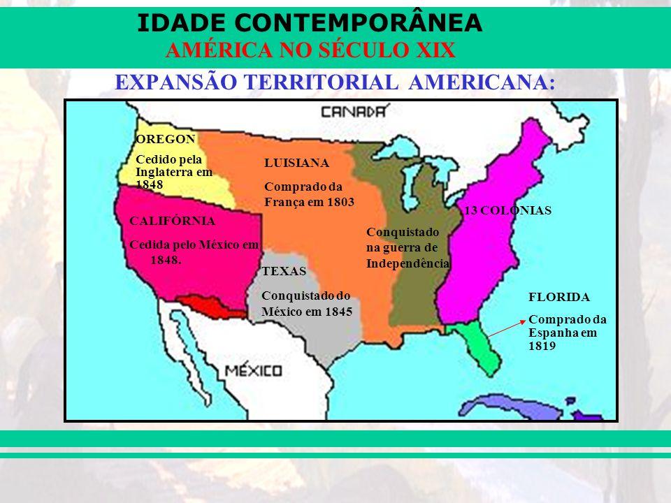 IDADE CONTEMPORÂNEA AMÉRICA NO SÉCULO XIX EXPANSÃO TERRITORIAL AMERICANA: CALIFÓRNIA Cedida pelo México em 1848. OREGON Cedido pela Inglaterra em 1848