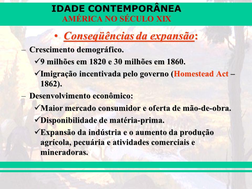 IDADE CONTEMPORÂNEA AMÉRICA NO SÉCULO XIX Conseqüências da expansão:Conseqüências da expansão: –Crescimento demográfico. 9 milhões em 1820 e 30 milhõe