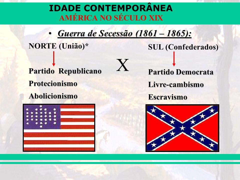 IDADE CONTEMPORÂNEA AMÉRICA NO SÉCULO XIX Guerra de Secessão (1861 – 1865):Guerra de Secessão (1861 – 1865): NORTE (União)* Partido Republicano Protec