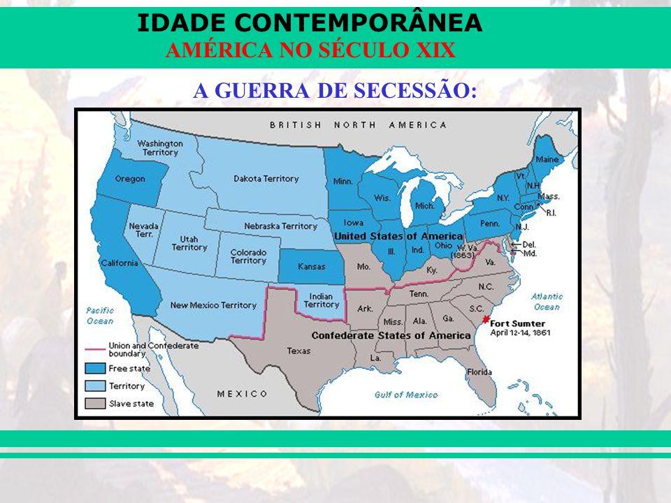 IDADE CONTEMPORÂNEA AMÉRICA NO SÉCULO XIX A GUERRA DE SECESSÃO: