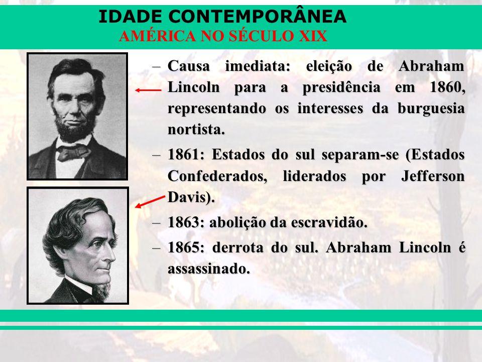 IDADE CONTEMPORÂNEA AMÉRICA NO SÉCULO XIX –Causa imediata: eleição de Abraham Lincoln para a presidência em 1860, representando os interesses da burgu