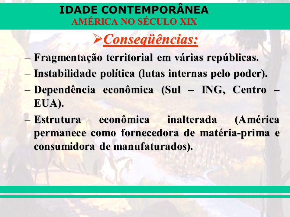IDADE CONTEMPORÂNEA AMÉRICA NO SÉCULO XIX Conseqüências: Conseqüências: –Fragmentação territorial em várias repúblicas. –Instabilidade política (lutas