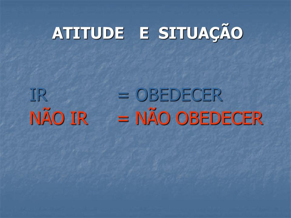 ATITUDE E SITUAÇÃO IR = OBEDECER NÃO IR = NÃO OBEDECER