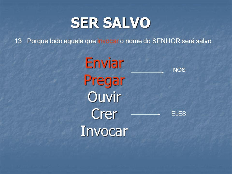 SER SALVO 13 Porque todo aquele que invocar o nome do SENHOR será salvo. EnviarPregarOuvirCrerInvocar NÓS ELES
