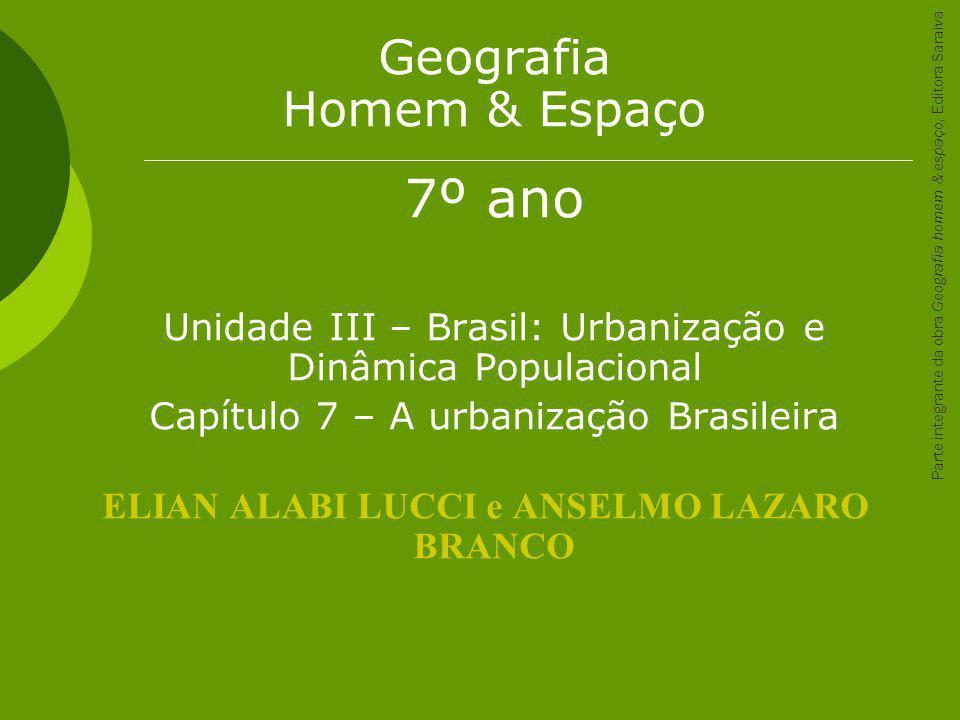 Geografia Homem & Espaço 7º ano Unidade III – Brasil: Urbanização e Dinâmica Populacional Capítulo 7 – A urbanização Brasileira ELIAN ALABI LUCCI e AN