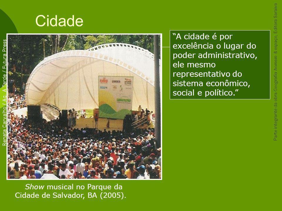 Cidade Show musical no Parque da Cidade de Salvador, BA (2005). Renata Carvalho / Ag. A Tarde / Futura Press A cidade é por excelência o lugar do pode