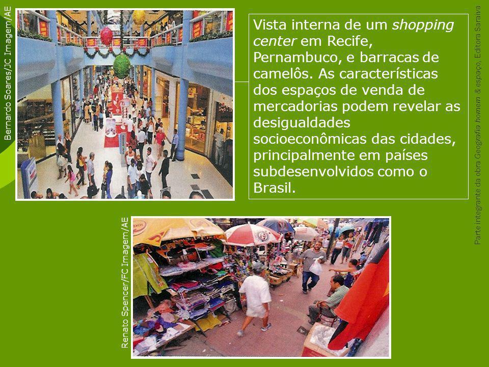 Vista interna de um shopping center em Recife, Pernambuco, e barracas de camelôs. As características dos espaços de venda de mercadorias podem revelar