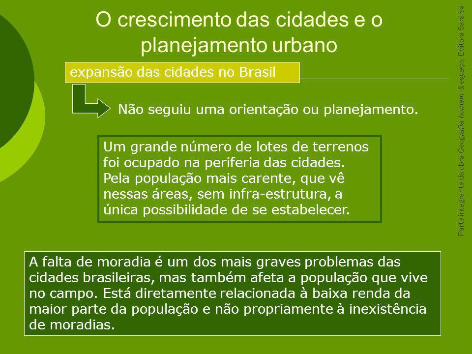 O crescimento das cidades e o planejamento urbano expansão das cidades no Brasil Não seguiu uma orientação ou planejamento. Um grande número de lotes