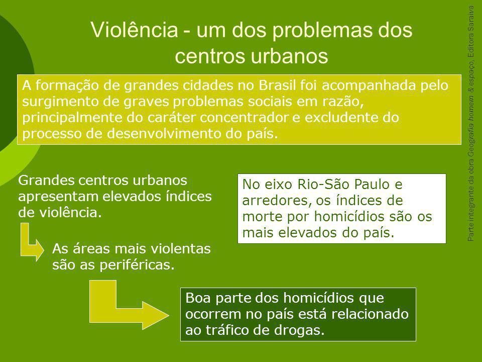 Violência - um dos problemas dos centros urbanos A formação de grandes cidades no Brasil foi acompanhada pelo surgimento de graves problemas sociais e
