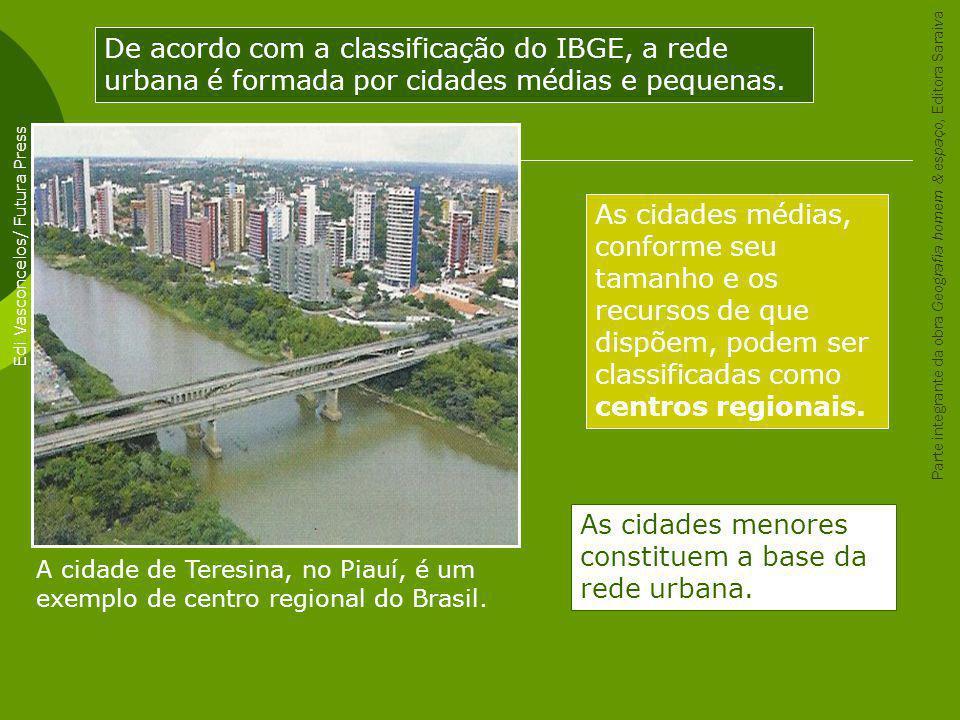 A cidade de Teresina, no Piauí, é um exemplo de centro regional do Brasil. Edi Vasconcelos/ Futura Press De acordo com a classificação do IBGE, a rede