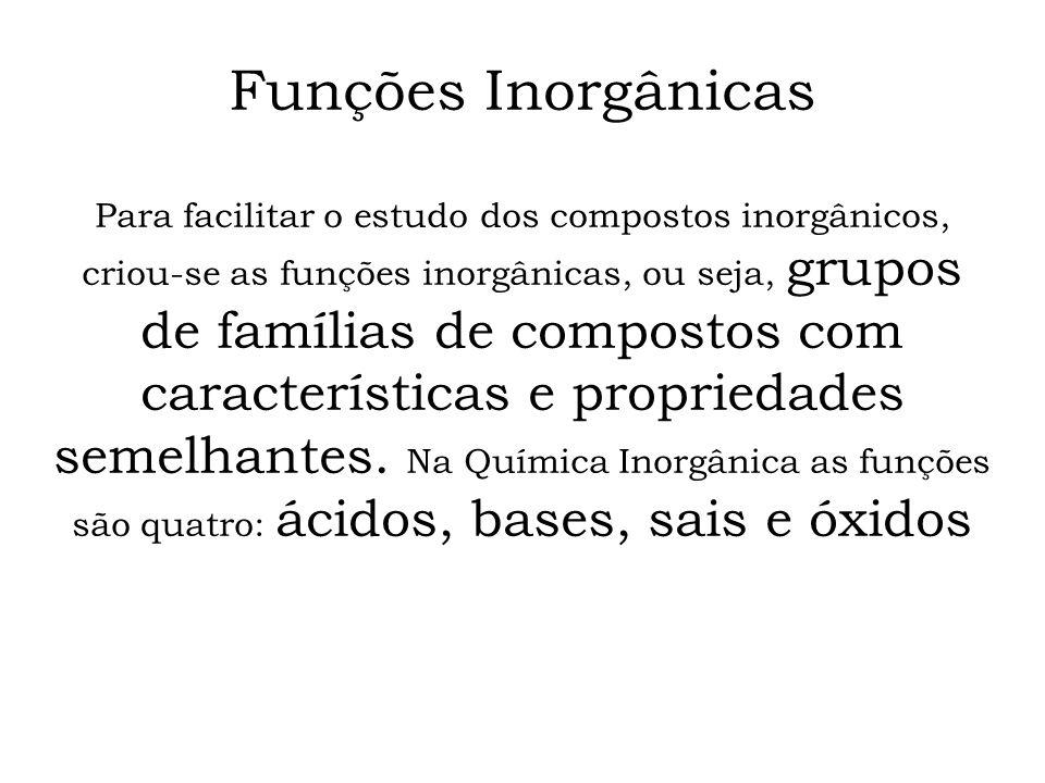 Funções Inorgânicas Para facilitar o estudo dos compostos inorgânicos, criou-se as funções inorgânicas, ou seja, grupos de famílias de compostos com c