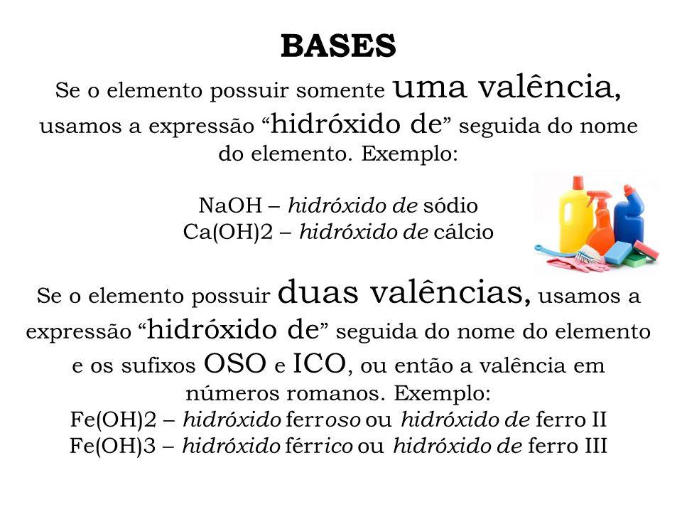 BASES Se o elemento possuir somente uma valência, usamos a expressão hidróxido de seguida do nome do elemento. Exemplo: NaOH – hidróxido de sódio Ca(O
