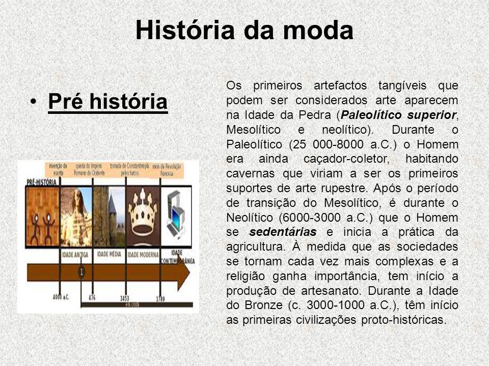 História da moda Pré história Os primeiros artefactos tangíveis que podem ser considerados arte aparecem na Idade da Pedra (Paleolítico superior, Mesolítico e neolítico).