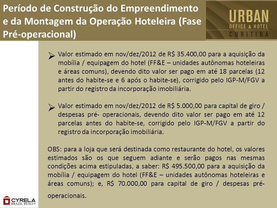 Valor estimado em nov/dez/2012 de R$ 35.400,00 para a aquisição da mobília / equipagem do hotel (FF&E – unidades autônomas hoteleiras e áreas comuns),
