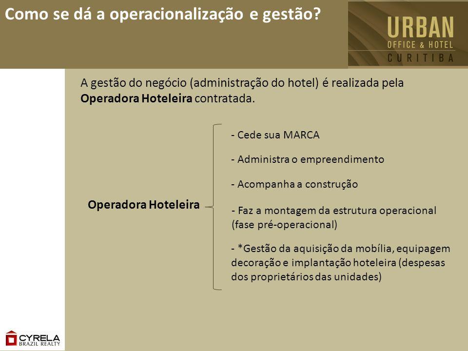 Como se dá a operacionalização e gestão? A gestão do negócio (administração do hotel) é realizada pela Operadora Hoteleira contratada. - Cede sua MARC