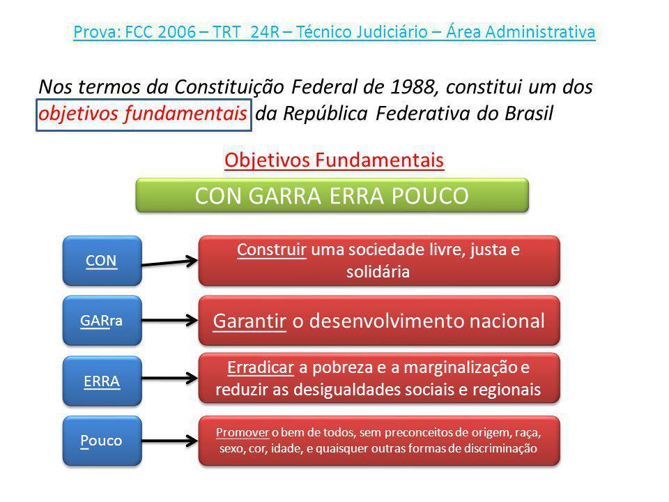 Prova: FCC 2006 – TRT_24R – Técnico Judiciário – Área Administrativa Nos termos da Constituição Federal de 1988, constitui um dos objetivos fundamenta