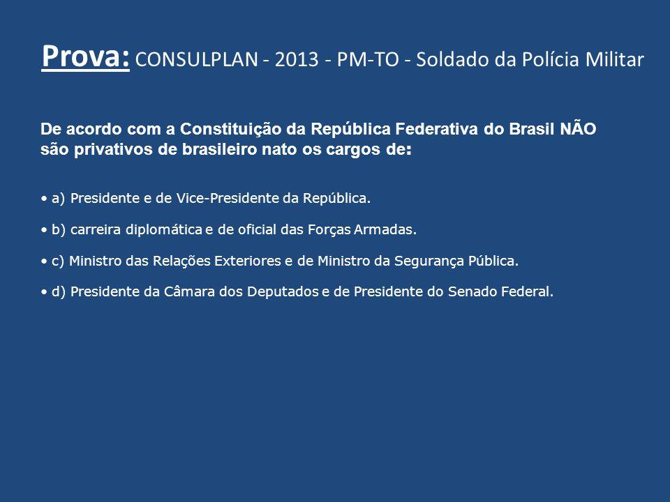 De acordo com a Constituição da República Federativa do Brasil NÃO são privativos de brasileiro nato os cargos de : a) Presidente e de Vice-Presidente