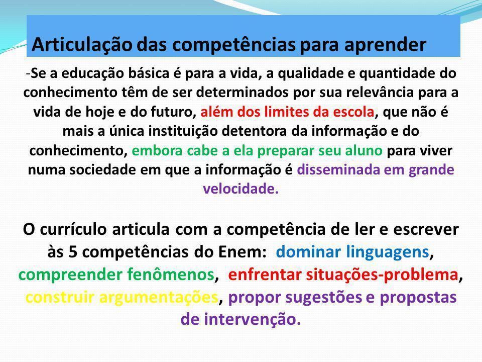 Articulação das competências para aprender -Se a educação básica é para a vida, a qualidade e quantidade do conhecimento têm de ser determinados por s