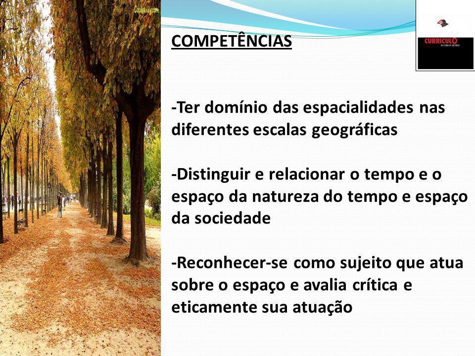 COMPETÊNCIAS -Ter domínio das espacialidades nas diferentes escalas geográficas -Distinguir e relacionar o tempo e o espaço da natureza do tempo e esp