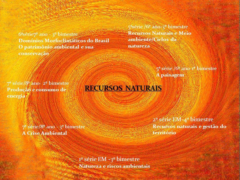 RECURSOS NATURAIS 7ª série/8º ano- 2º bimestre Produção e consumo de energia 1º série EM -3º bimestre Natureza e riscos ambientais 2º série EM-4º bime