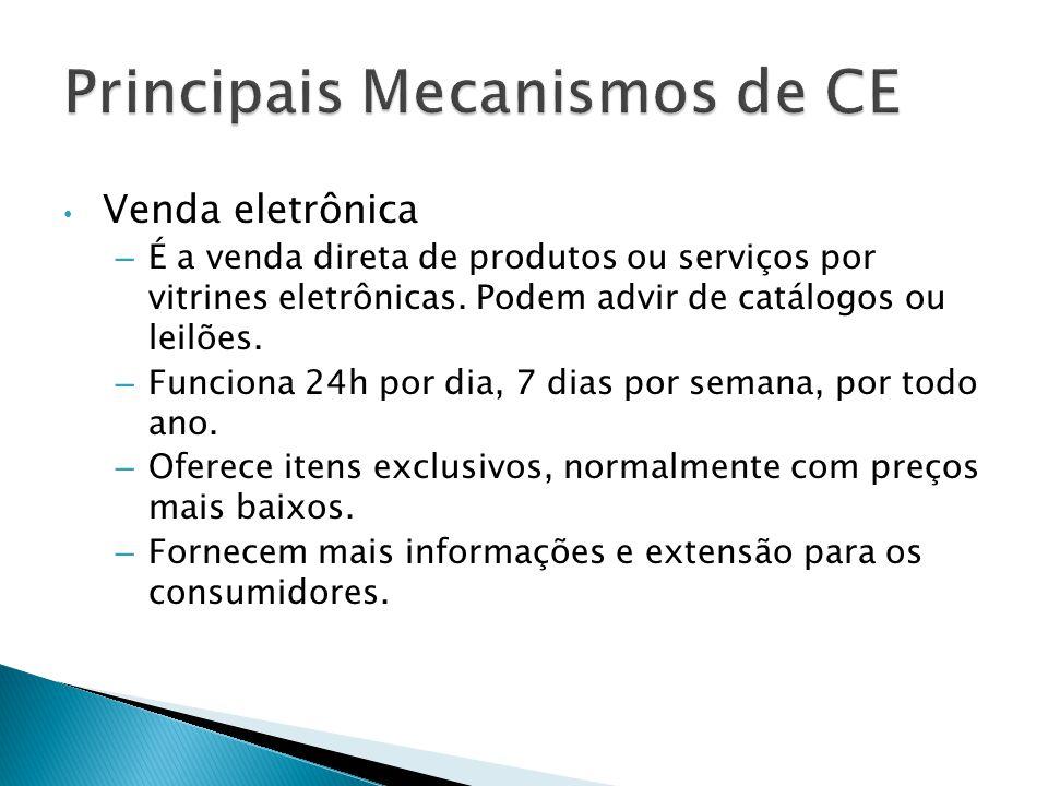 Venda eletrônica – É a venda direta de produtos ou serviços por vitrines eletrônicas. Podem advir de catálogos ou leilões. – Funciona 24h por dia, 7 d
