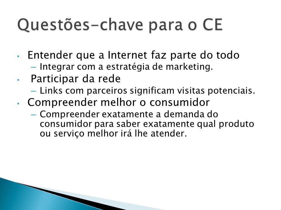 Entender que a Internet faz parte do todo – Integrar com a estratégia de marketing. Participar da rede – Links com parceiros significam visitas potenc