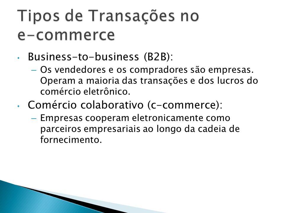 Business-to-business (B2B): – Os vendedores e os compradores são empresas. Operam a maioria das transações e dos lucros do comércio eletrônico. Comérc