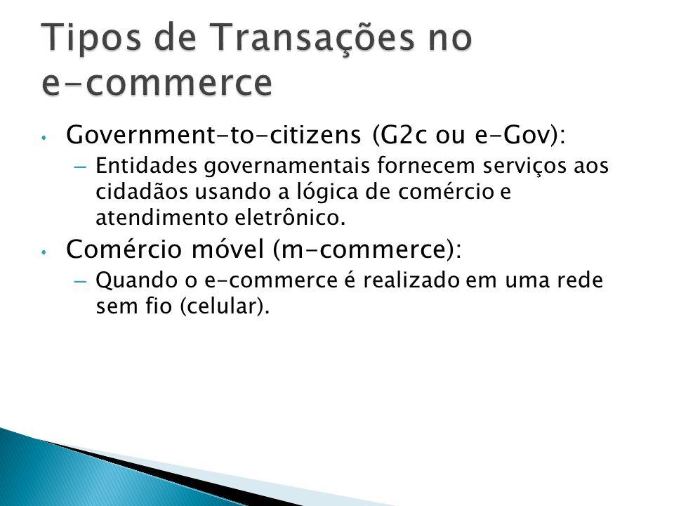 Government-to-citizens (G2c ou e-Gov): – Entidades governamentais fornecem serviços aos cidadãos usando a lógica de comércio e atendimento eletrônico.