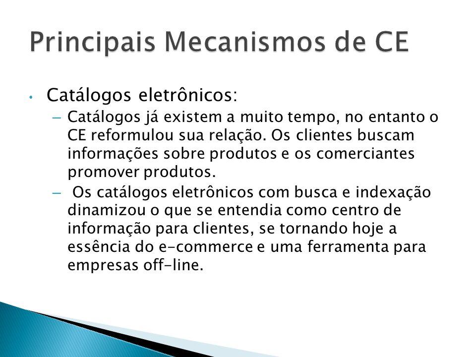Catálogos eletrônicos: – Catálogos já existem a muito tempo, no entanto o CE reformulou sua relação. Os clientes buscam informações sobre produtos e o