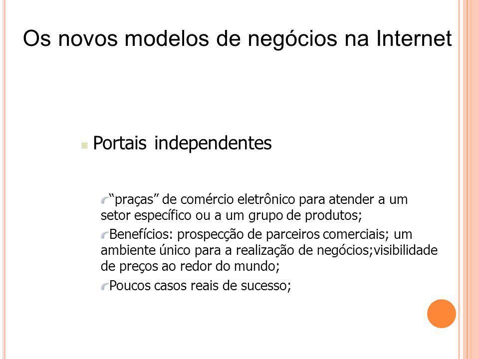 Portais independentes praças de comércio eletrônico para atender a um setor específico ou a um grupo de produtos; Benefícios: prospecção de parceiros