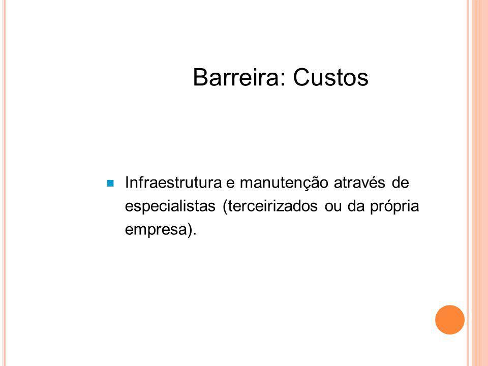 Barreira: Custos Infraestrutura e manutenção através de especialistas (terceirizados ou da própria empresa).