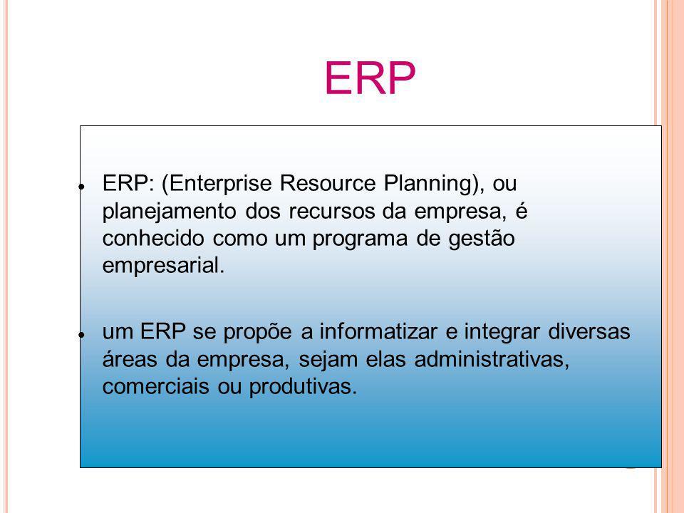 ERP ERP: (Enterprise Resource Planning), ou planejamento dos recursos da empresa, é conhecido como um programa de gestão empresarial. um ERP se propõe