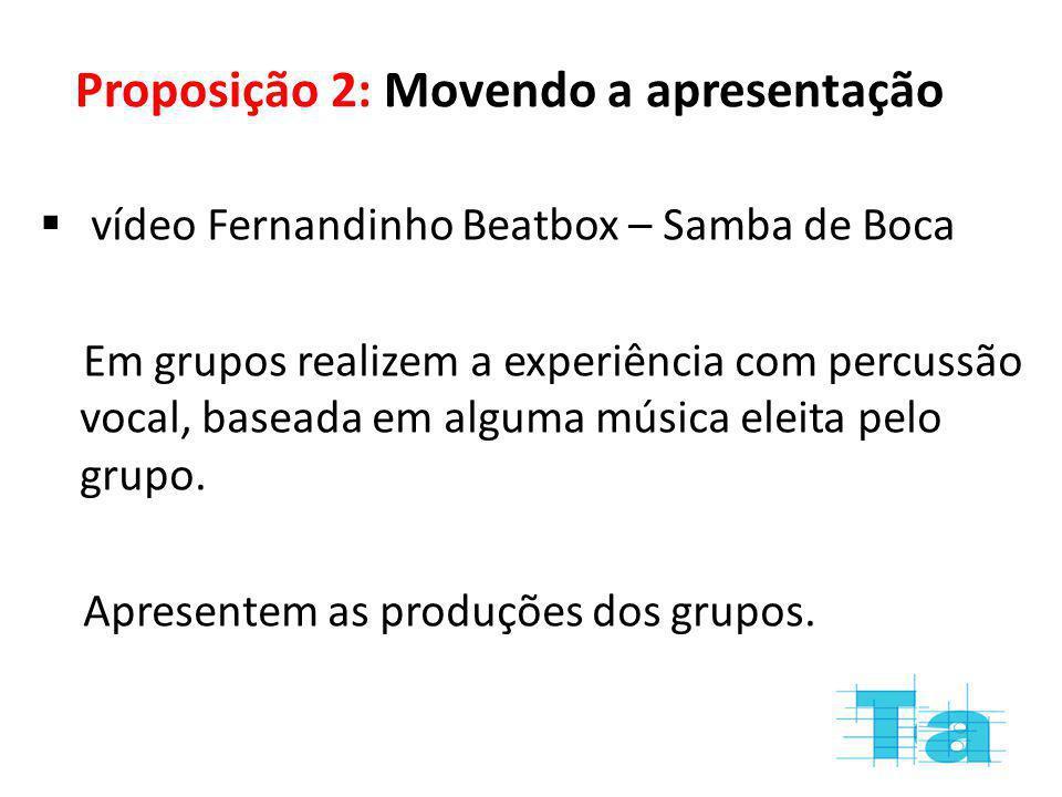 Proposição 2: Movendo a apresentação vídeo Fernandinho Beatbox – Samba de Boca Em grupos realizem a experiência com percussão vocal, baseada em alguma