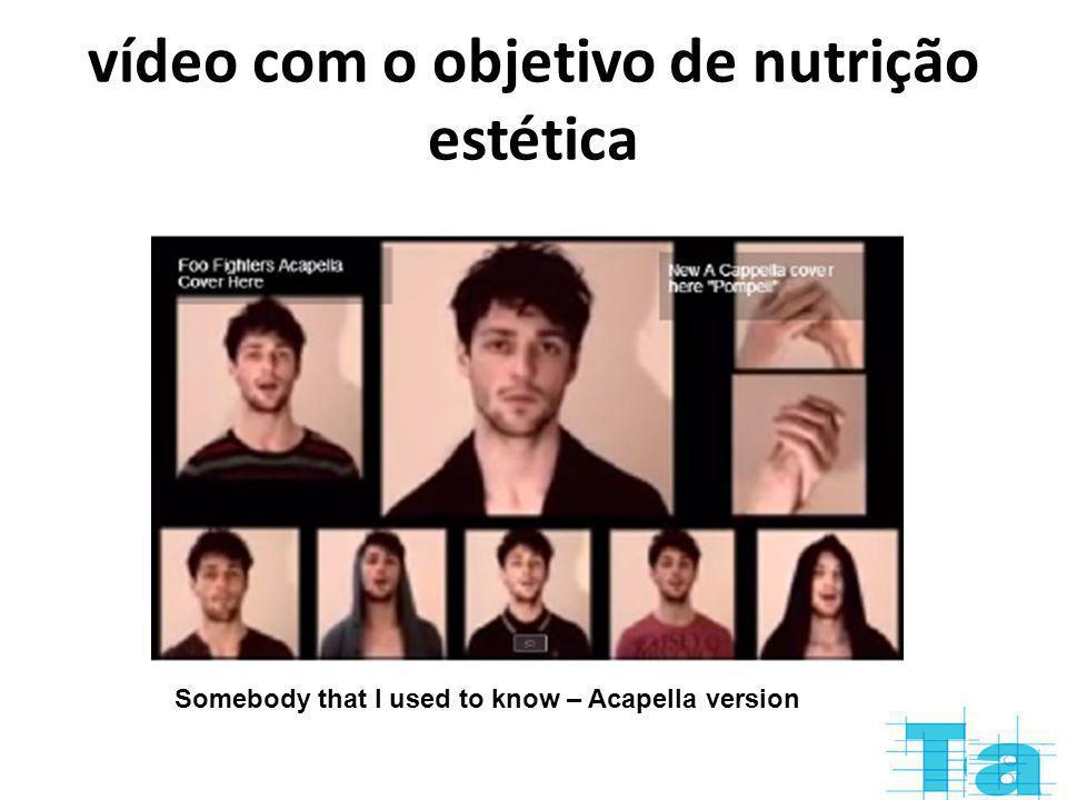 vídeo com o objetivo de nutrição estética Somebody that I used to know – Acapella version