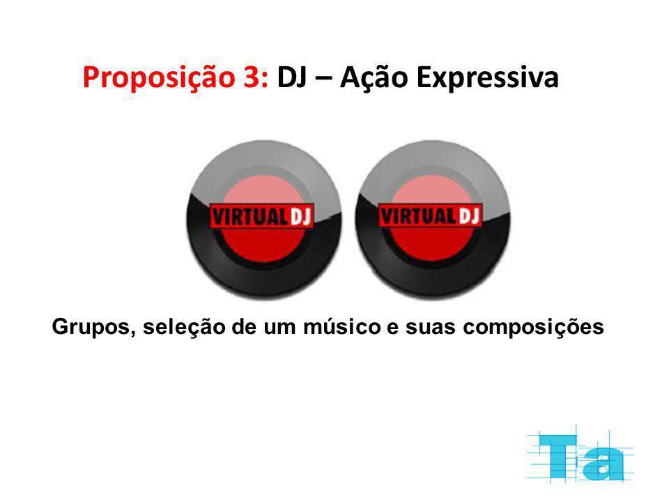Proposição 3: DJ – Ação Expressiva Grupos, seleção de um músico e suas composições