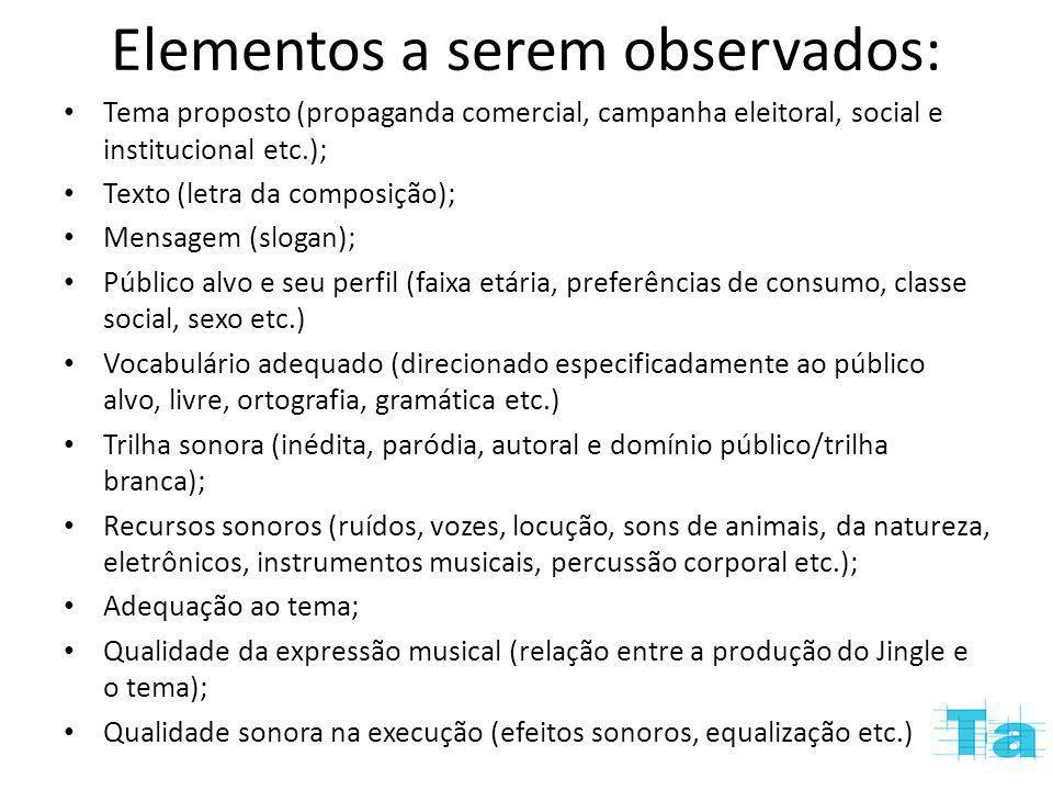 Elementos a serem observados: Tema proposto (propaganda comercial, campanha eleitoral, social e institucional etc.); Texto (letra da composição); Mens
