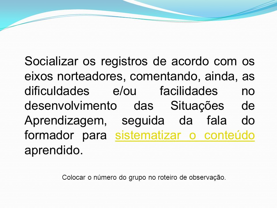 Socializar os registros de acordo com os eixos norteadores, comentando, ainda, as dificuldades e/ou facilidades no desenvolvimento das Situações de Ap
