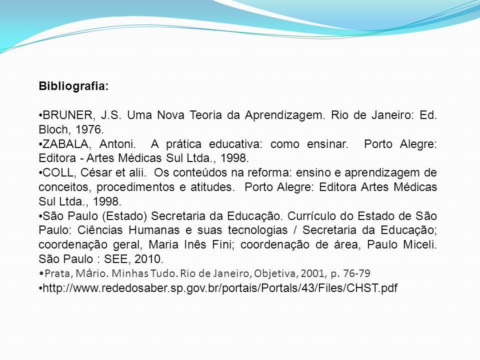 Bibliografia: BRUNER, J.S. Uma Nova Teoria da Aprendizagem. Rio de Janeiro: Ed. Bloch, 1976. ZABALA, Antoni. A prática educativa: como ensinar. Porto